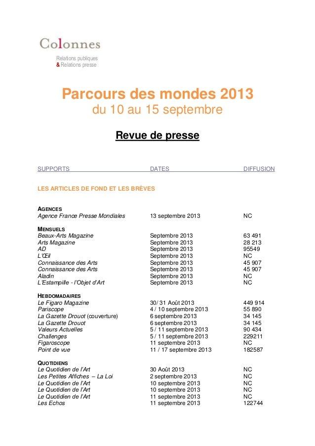 Relations publiques & Relations presse Parcours des mondes 2013 du 10 au 15 septembre Revue de presse SUPPORTS DATES DIFFU...