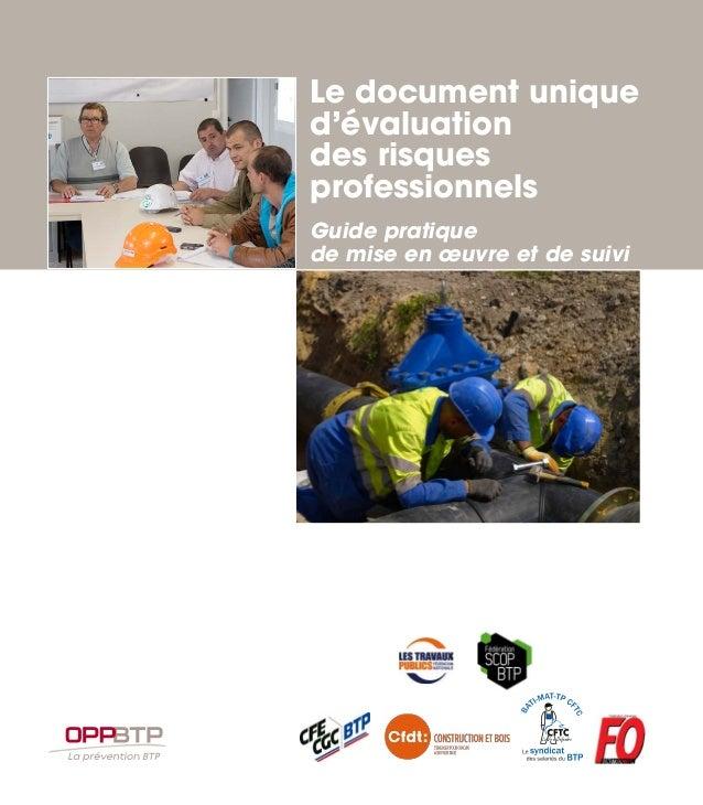 Le document unique d'évaluation des risques professionnels Guide pratique de mise en œuvre et de suivi