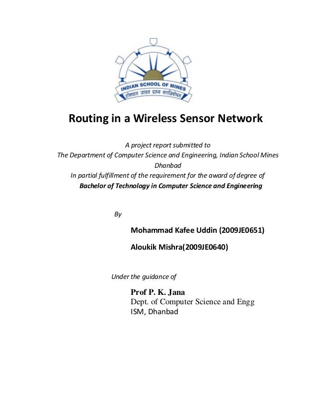 Routing in a Wireless Sensor Network                         A project report submitted toThe Department of Computer Scien...