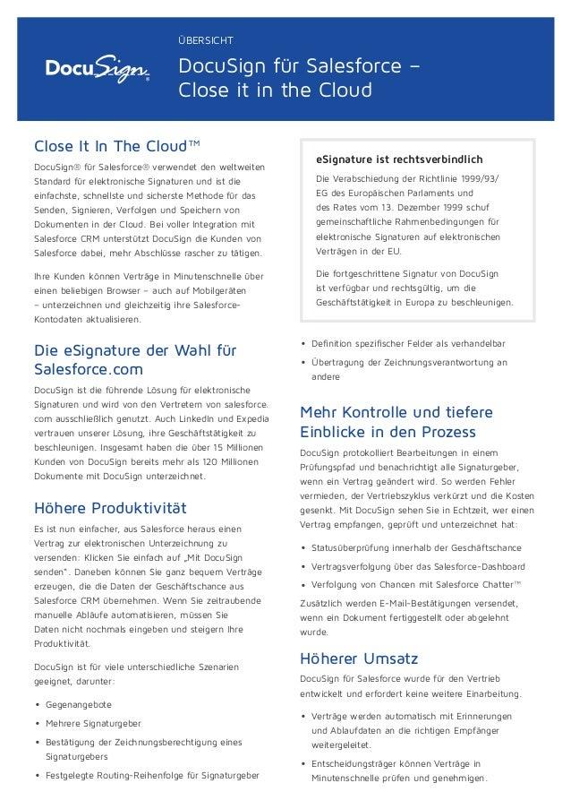 Close It In The Cloud™ DocuSign® für Salesforce® verwendet den weltweiten Standard für elektronische Signaturen und ist di...