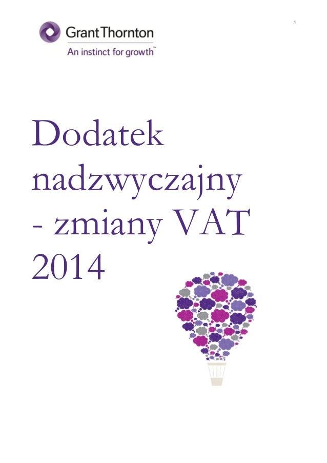 Dodatek nadzwyczajny - Zmiany VAT 2014