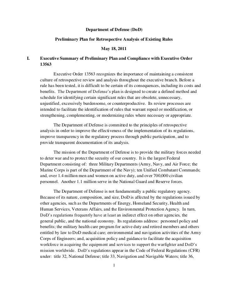 Department of Defense (DoD)             Preliminary Plan for Retrospective Analysis of Existing Rules                     ...