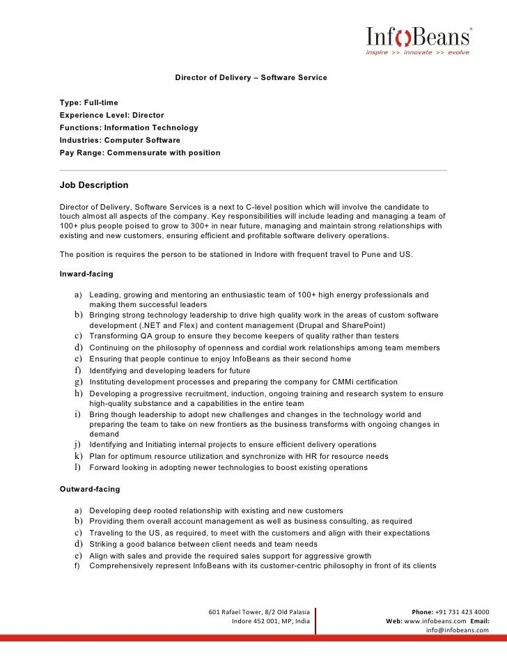 Director Of Engineering Job Description Qa Manager Resume Best