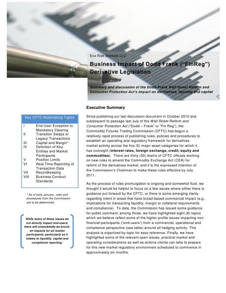"Eco Risk Markets LLC                                          Business Impact of Dodd Frank (""FinReg"")                    ..."