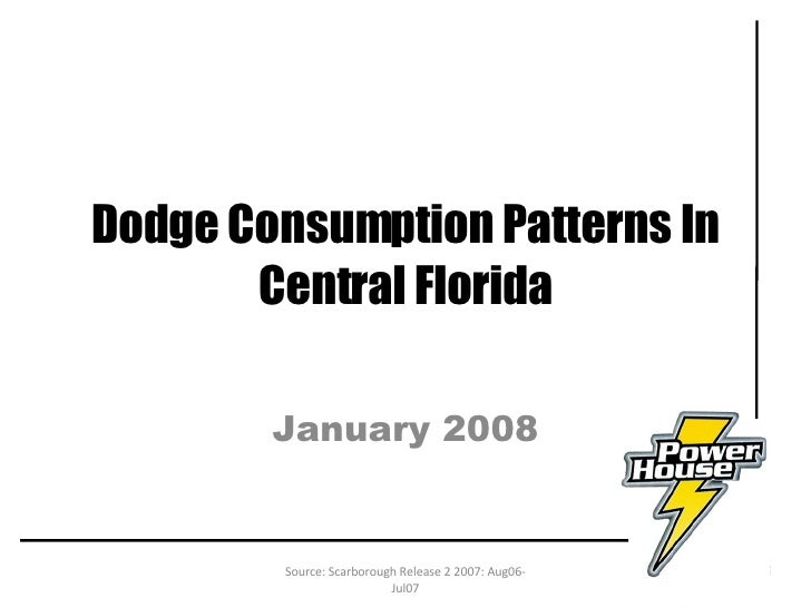 Dodge Consumption Patterns In Central Florida January 2008 Source: Scarborough Release 2 2007: Aug06-Jul07