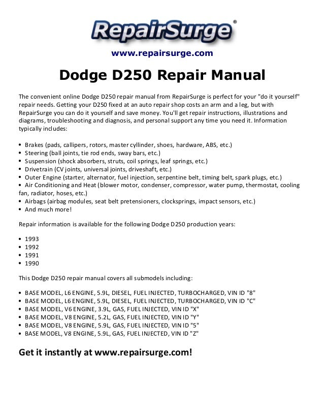 2010 Chevrolet Malibu Owners Manual >> Dodge D250 Repair Manual 1990-1993