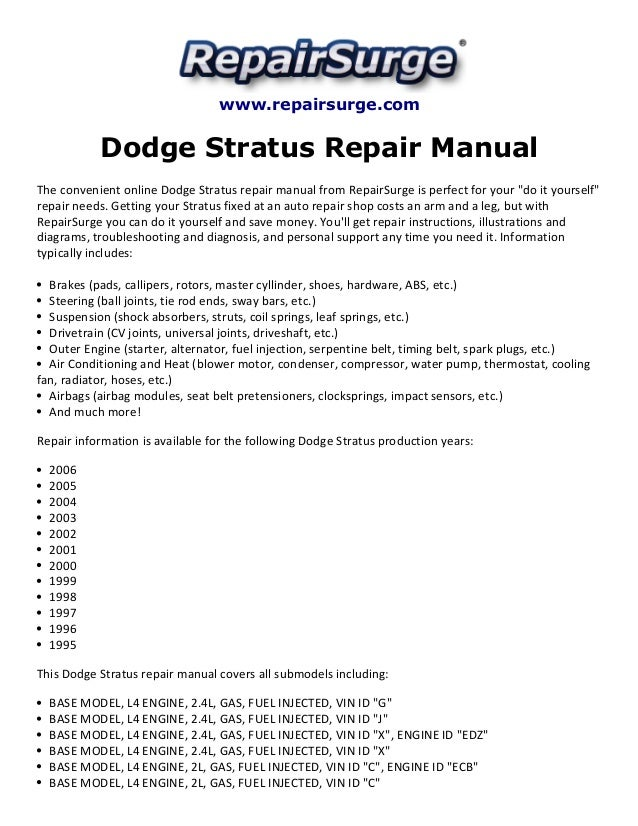 dodge stratus repair manual 1995 2006. Black Bedroom Furniture Sets. Home Design Ideas