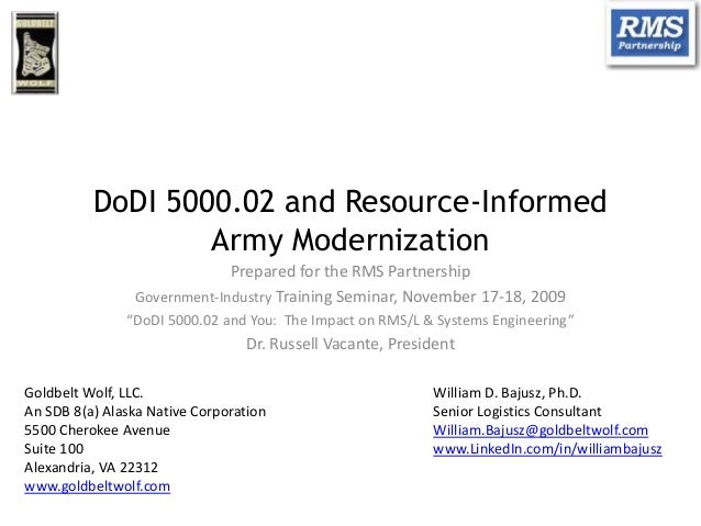 DoDI 5000.02 and Resource-Informed Army Modernization Prepared for the RMS Partnership Government-Industry Training Semina...