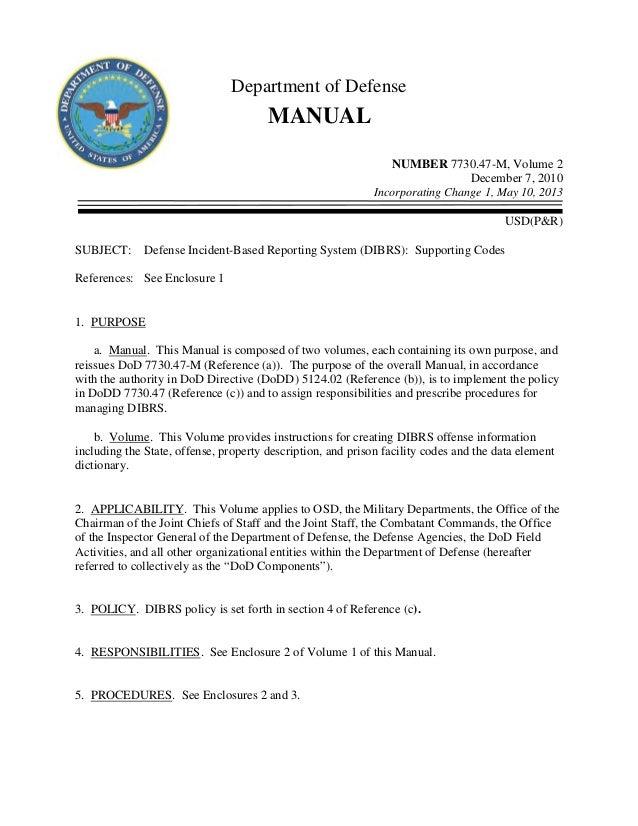 Department of DefenseMANUALNUMBER 7730.47-M, Volume 2December 7, 2010Incorporating Change 1, May 10, 2013USD(P&R)SUBJECT: ...