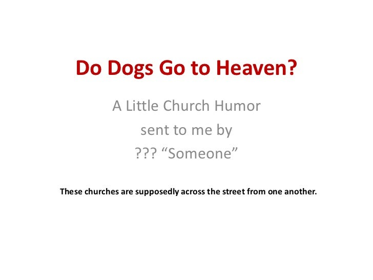 "Do Dogs Go to Heaven?<br />A Little Church Humor<br />sent to me by<br />??? ""Someone""<br />These churches are supposedly ..."