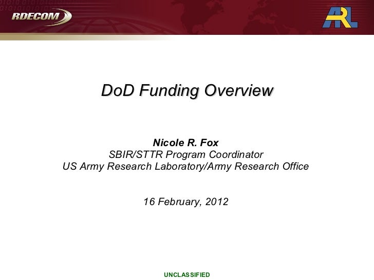DoD Funding Overview (Grants Workshop)