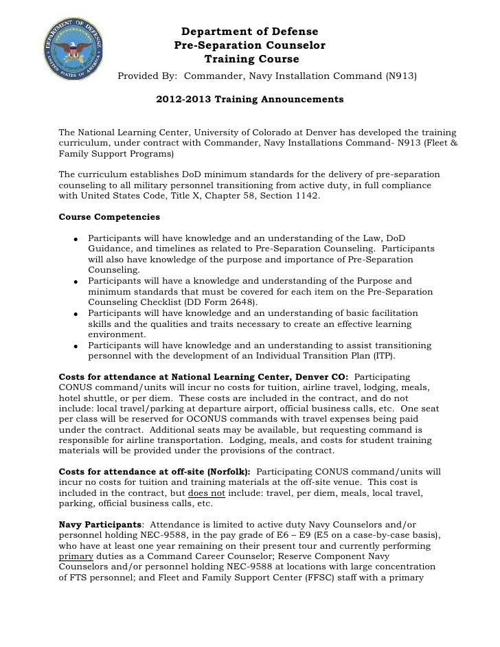 DoD PreSep Counselor TRAINING & APPLICATION 2012 2013 (3)