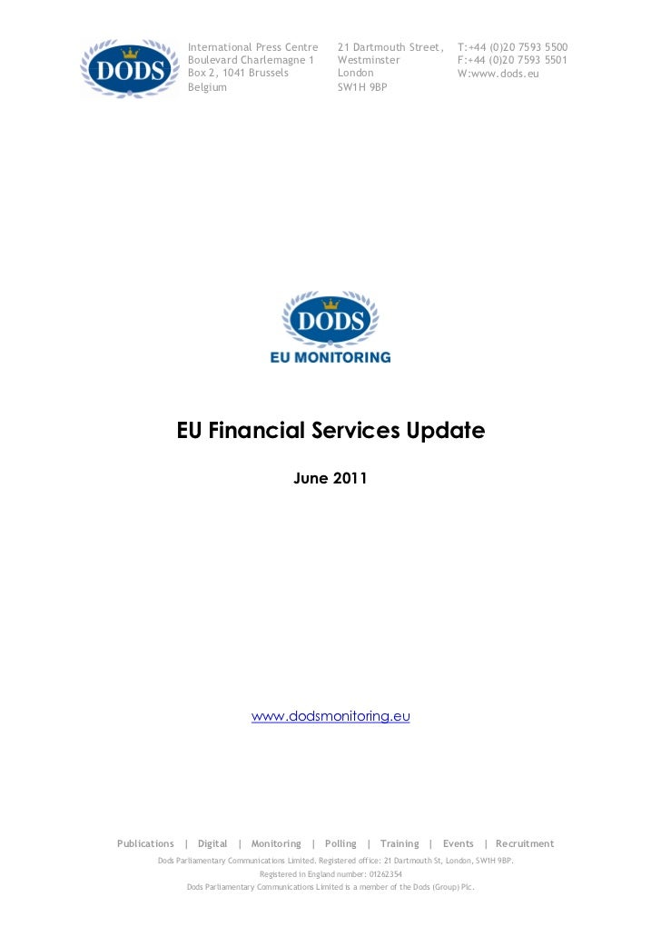 Dods EU Finance Services Update - June 2011