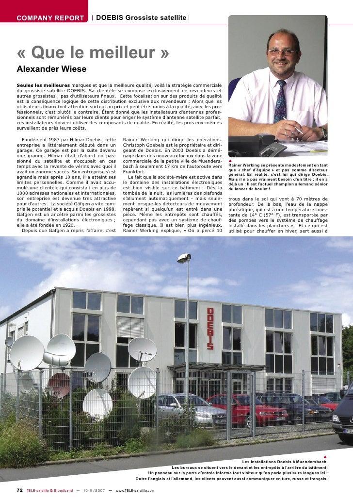 COMPANY REPORT                        DOEBIS Grossiste satellite     « Que le meilleur » Alexander Wiese Seules les meille...