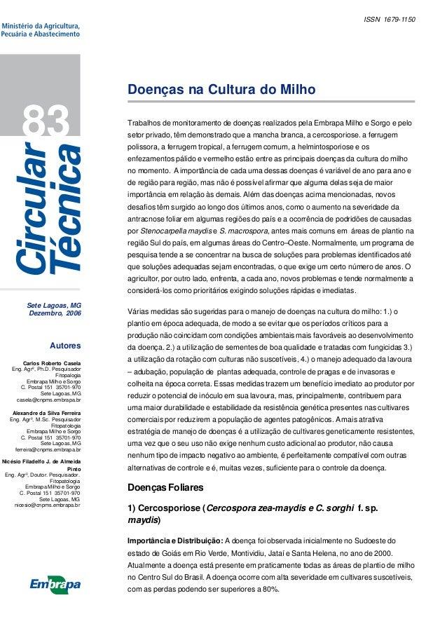 ISSN 1679-1150  Doenças na Cultura do Milho  83  Trabalhos de monitoramento de doenças realizados pela Embrapa Milho e Sor...