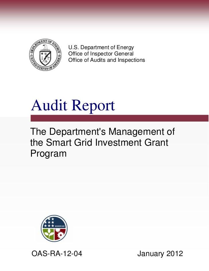 Doe   Oai   Audit Report On Sg Program   Jan 2012
