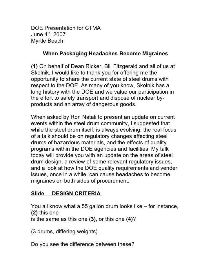 DOE Presentation for CTMA June 4th, 2007 Myrtle Beach       When Packaging Headaches Become Migraines  (1) On behalf of De...