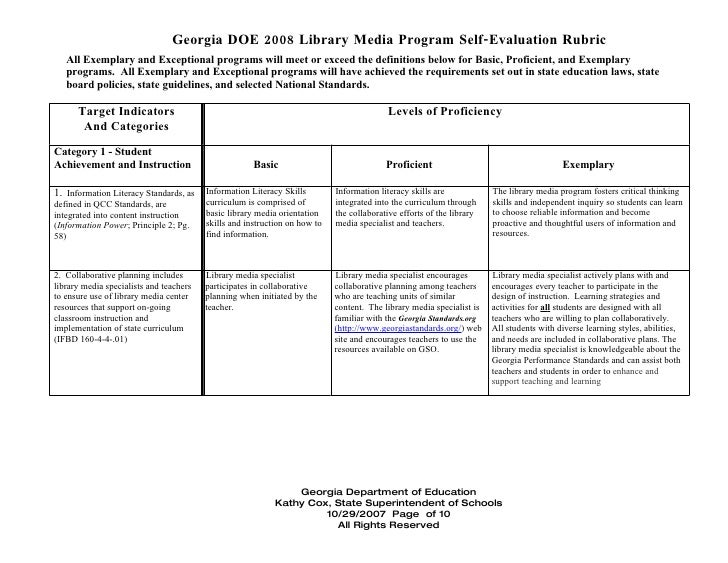 Georgia DOE 2008 Library Media Program Self-Evaluation Rubric   All Exemplary and Exceptional programs will meet or exceed...