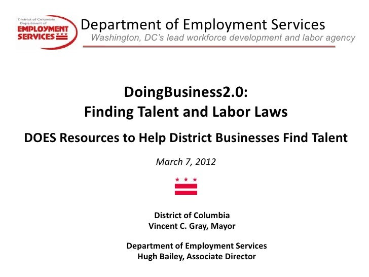 Department of Employment Services           Washington, DC's lead workforce development and labor agency                Do...