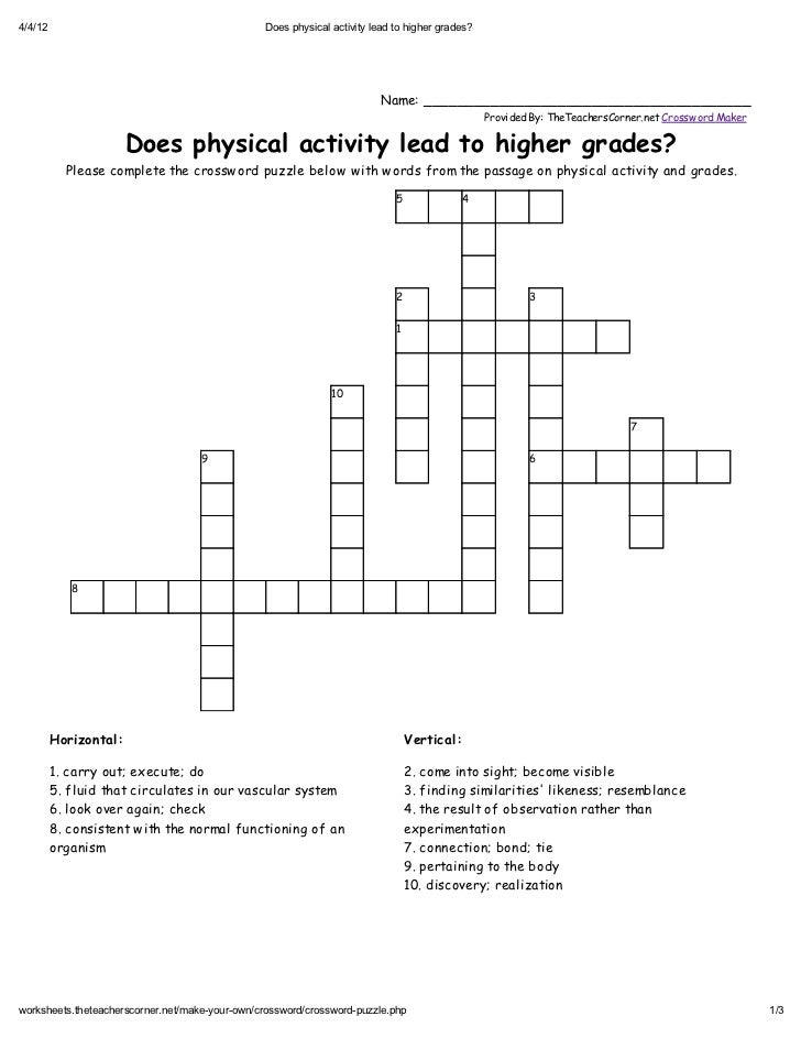 Does physical activity lead to higher grades? PUZZLE