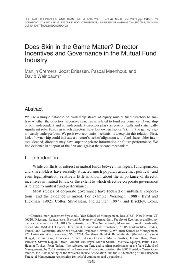 JOURNAL OF FINANCIAL AND QUANTITATIVE ANALYSIS            Vol. 44, No. 6, Dec. 2009, pp. 1345–1373COPYRIGHT 2009, MICHAEL ...