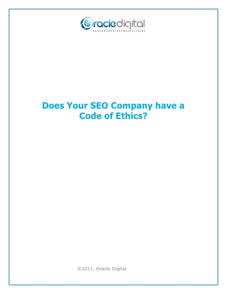 Does Your SEO Company have a Code of Ethics?