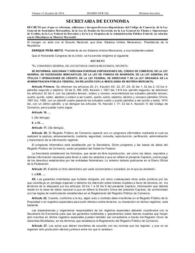 Viernes 13 de junio de 2014 DIARIO OFICIAL (Primera Sección) SECRETARIA DE ECONOMIA DECRETO por el que se reforman, adicio...