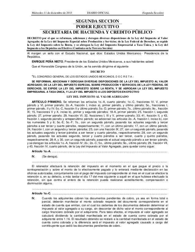 Miércoles 11 de diciembre de 2013  DIARIO OFICIAL  (Segunda Sección)  SEGUNDA SECCION PODER EJECUTIVO SECRETARIA DE HACIEN...