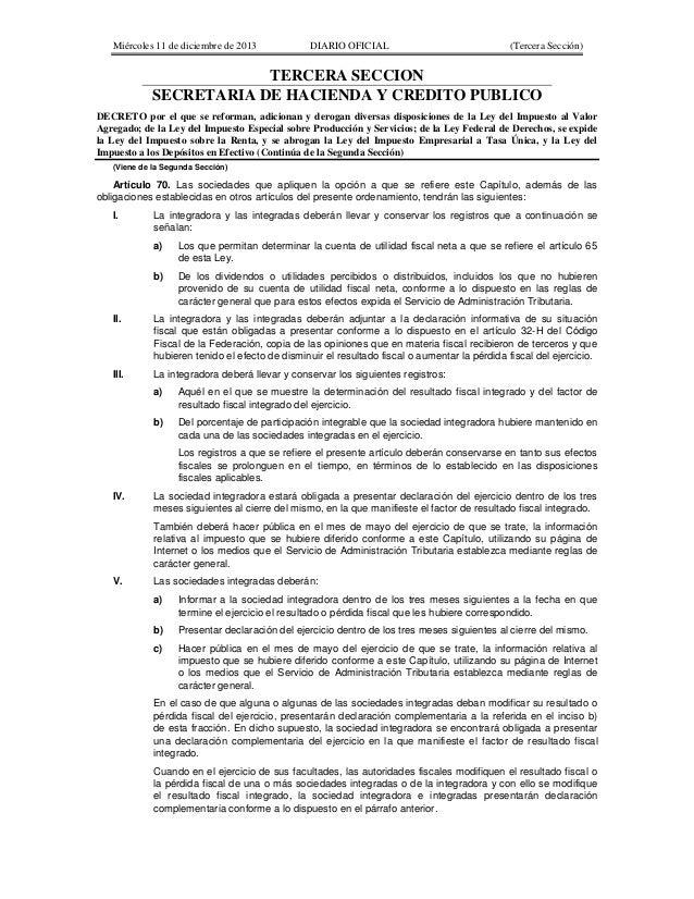 Miércoles 11 de diciembre de 2013  DIARIO OFICIAL  (Tercera Sección)  TERCERA SECCION SECRETARIA DE HACIENDA Y CREDITO PUB...