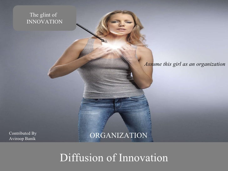 Diffusion of Innovation The glint of  INNOVATION ORGANIZATION Contributed By Aviroop Banik Assume this girl as on organiza...
