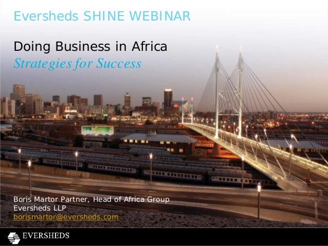 Eversheds SHINE - Doing business in Africa webinar