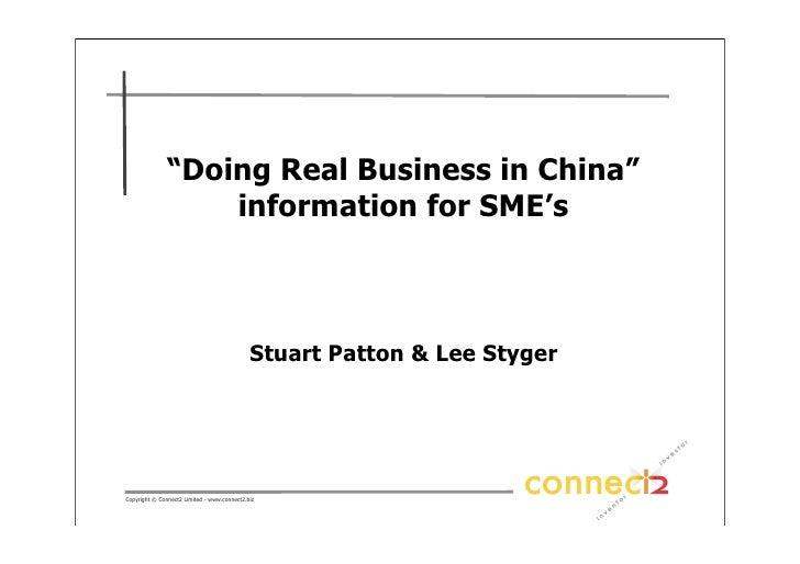 Doing Biz In China Sme