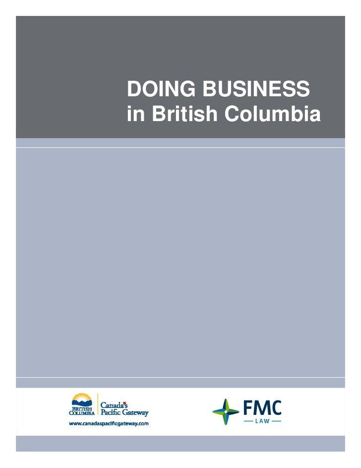 Doing Business in British Columbia