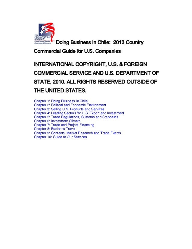 Dr Dev Kambhampati | Doing Business in Chile - 2013 Country Commercial Guide for US Companies