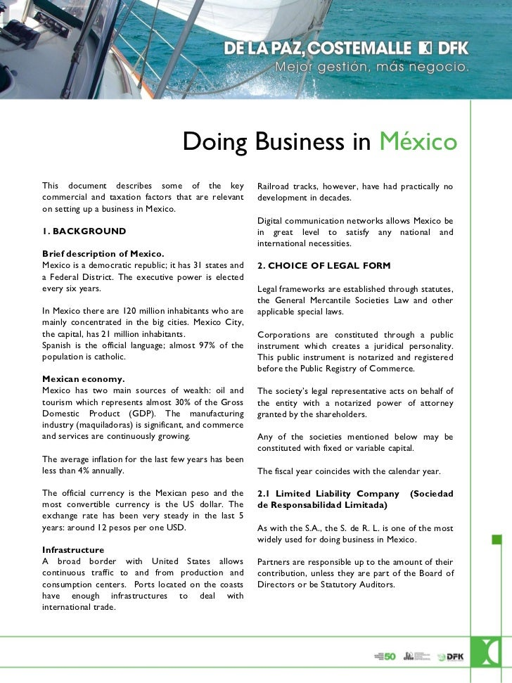 Doing Business in México                        This document describes some of the key                                   ...