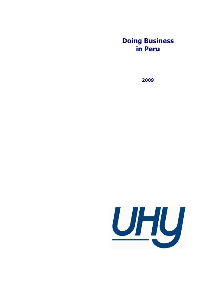 Doing business in Peru 2009