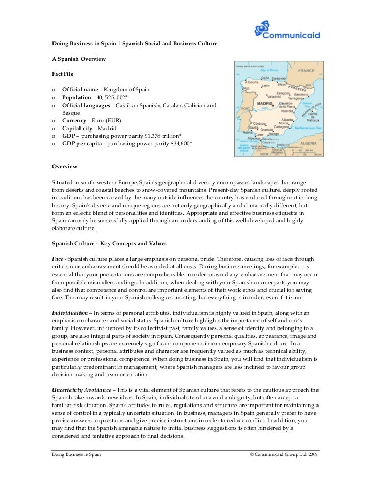 Doing Business in Spain | Spanish Social and Business CultureA Spanish OverviewFact Fileo   Official name – Kingdom of Spa...