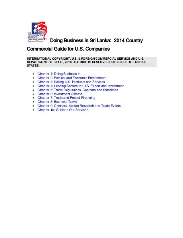 Dr Dev Kambhampati   Doing Business in Sri Lanka - 2014 Country Commercial Guide for US Companies