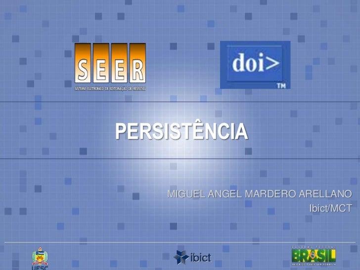 PERSISTÊNCIA<br />MIGUEL ANGEL MARDERO ARELLANO<br />Ibict/MCT<br />