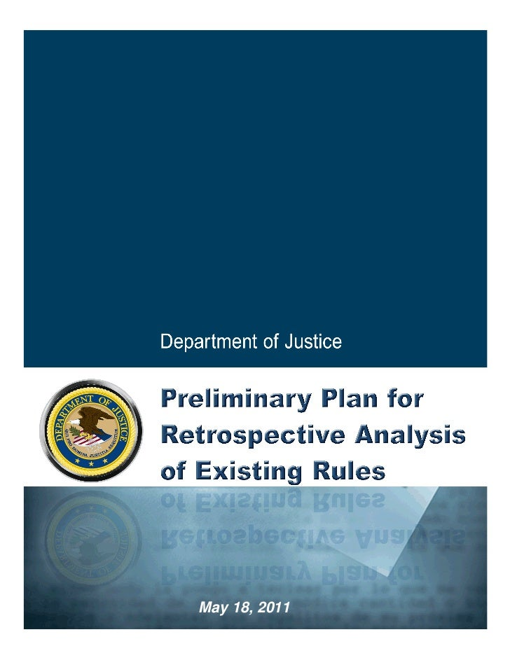 Department of Justice Preliminary Regulatory Reform Plan