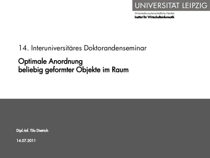 Wirtschaftswisschenschaftliche Fakultät                                      Institut für Wirtschaftsinformatik 14. Interu...