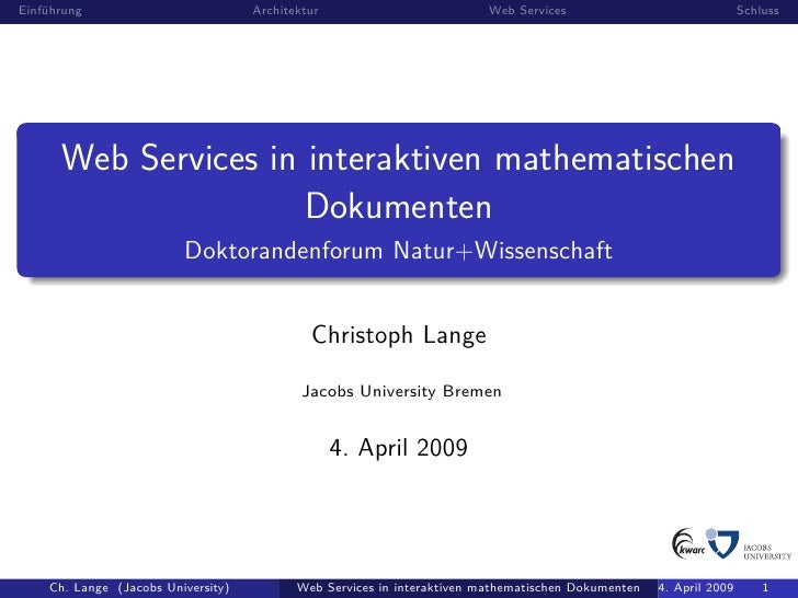 Web Services in interaktiven mathematischen Dokumenten