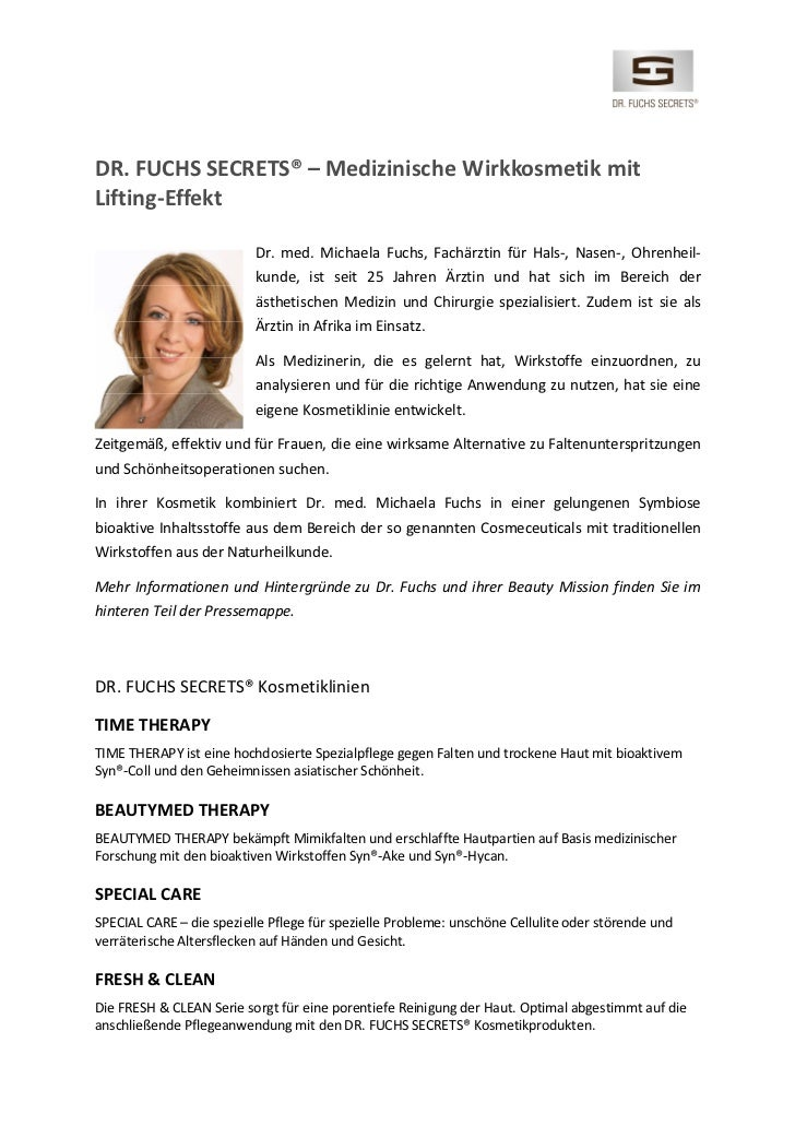 DR. FUCHS SECRETS® – Medizinische Wirkkosmetik mitLifting-Effekt                          Dr. med. Michaela Fuchs, Fachärz...