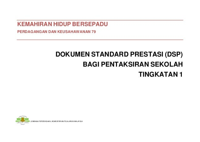 Dokumen standard prestasi bagi pbs ting. 1