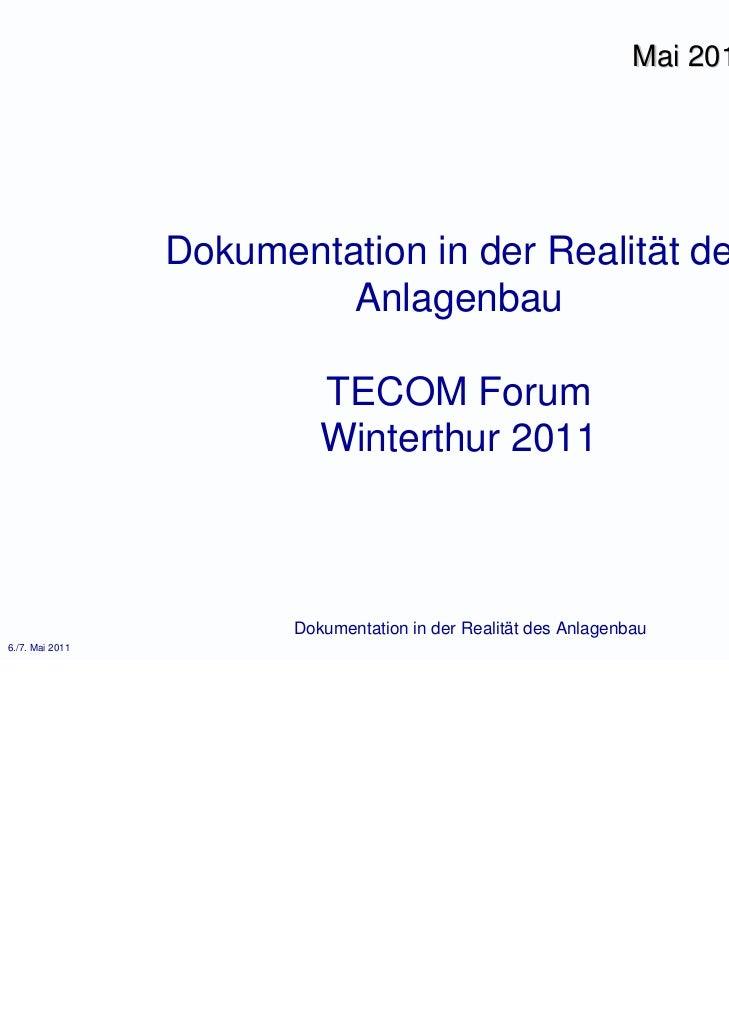 Mai 2011                 Dokumentation in der Realität des                          Anlagenbau                           T...