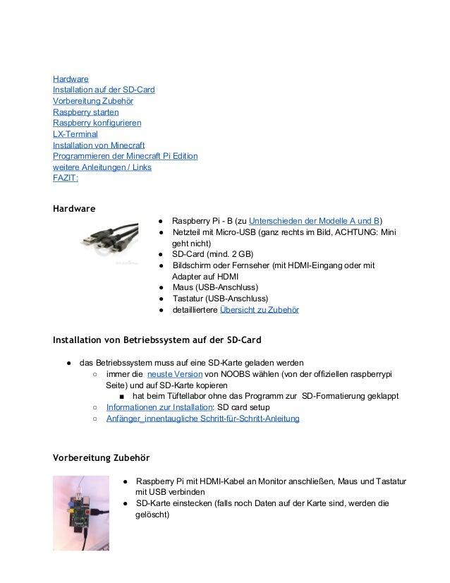 Hardware InstallationaufderSDCard VorbereitungZubehör Raspberrystarten Raspberrykonfigurieren LXTerminal Installat...