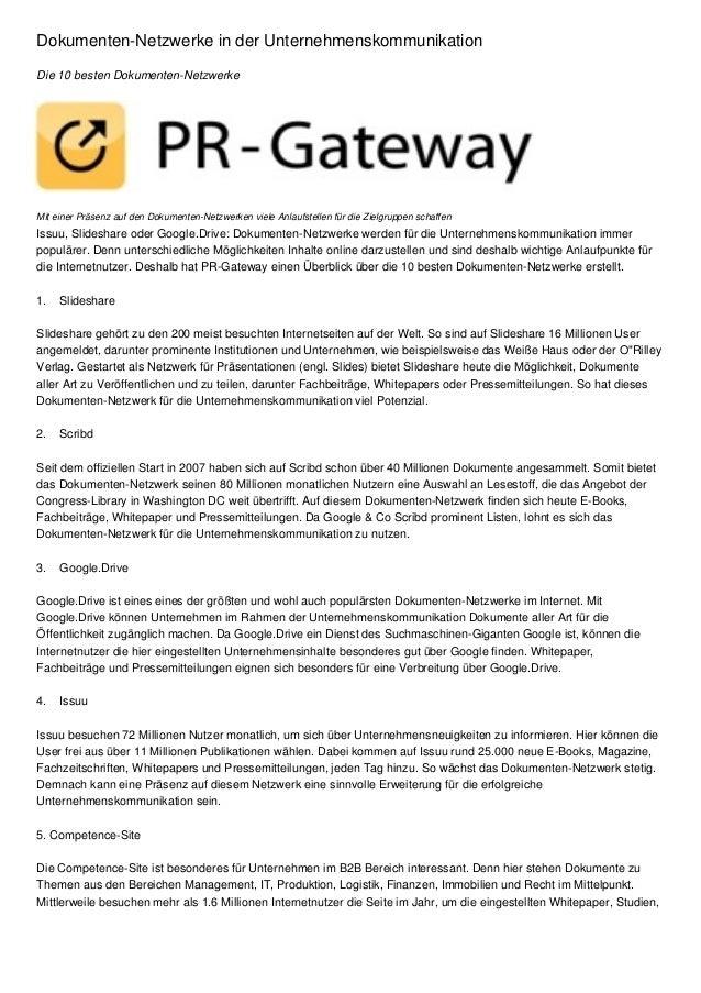 Dokumenten-Netzwerke in der Unternehmenskommunikation Die 10 besten Dokumenten-Netzwerke  Mit einer Präsenz auf den Dokume...