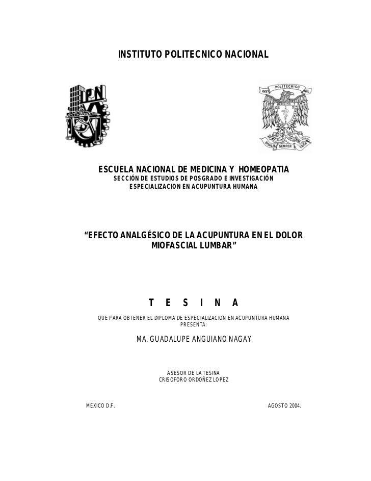 INSTITUTO POLITECNICO NACIONAL    ESCUELA NACIONAL DE MEDICINA Y HOMEOPATIA          SECCIÓN DE ESTUDIOS DE POSGRADO E INV...