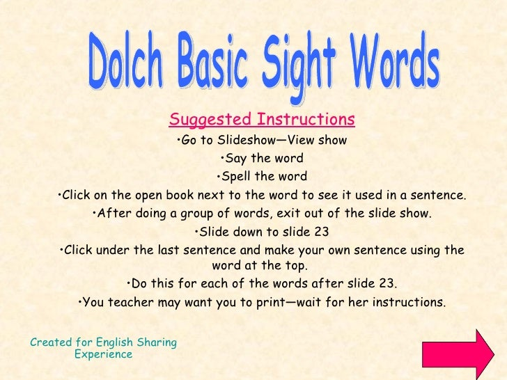 1st grade sight words dolch