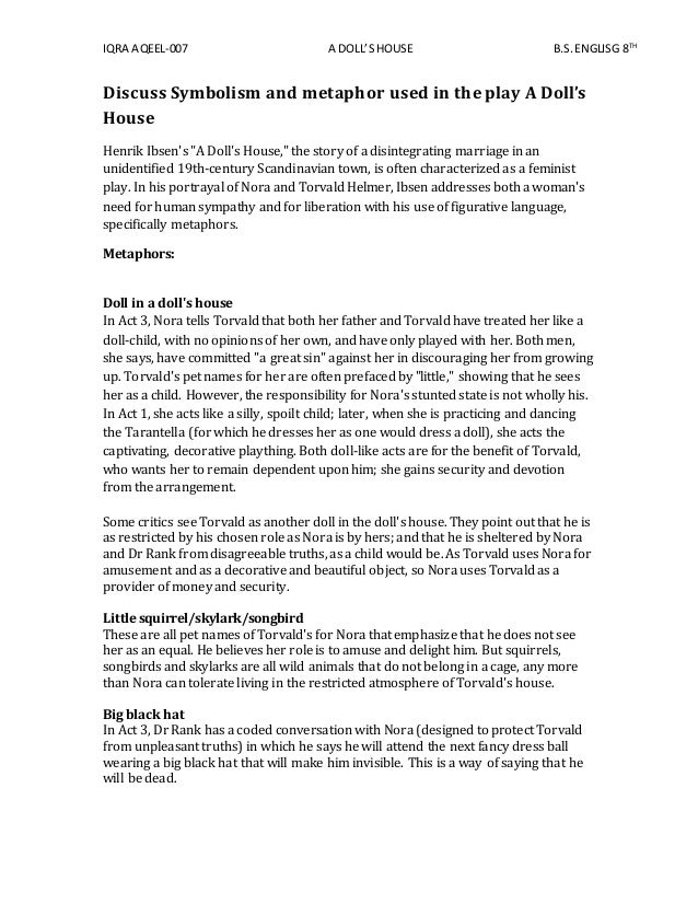 a dolls house essay questions Find dolls house lesson plans and resources including lesson plans, worksheets, apps short answer and essay questions about ibsen's a doll's house.